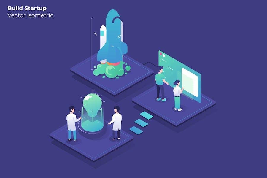 Build Startup - Vector Illustration