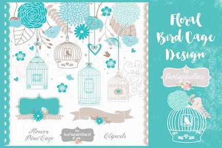 Vogelkäfig mit Blumenmuster, Blaugrün