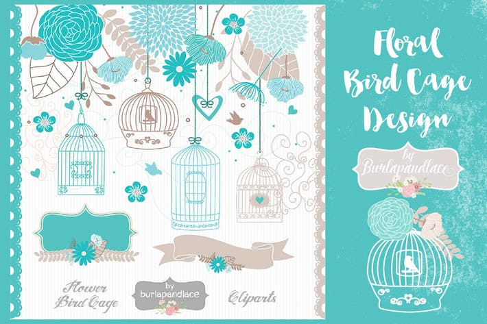 Thumbnail for Teal floral bird cage design