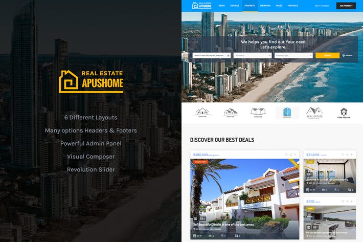 Thumbnail for ApusHome - Real Estate WordPress Theme