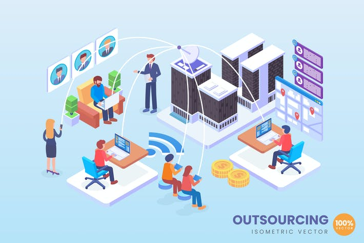 Thumbnail for Isometric Project Outsourcing Vector Concept