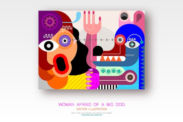 Woman Afraid of a Big Dog vector illustration