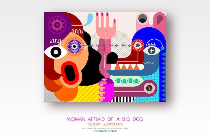 Thumbnail for Woman Afraid of a Big Dog vector illustration