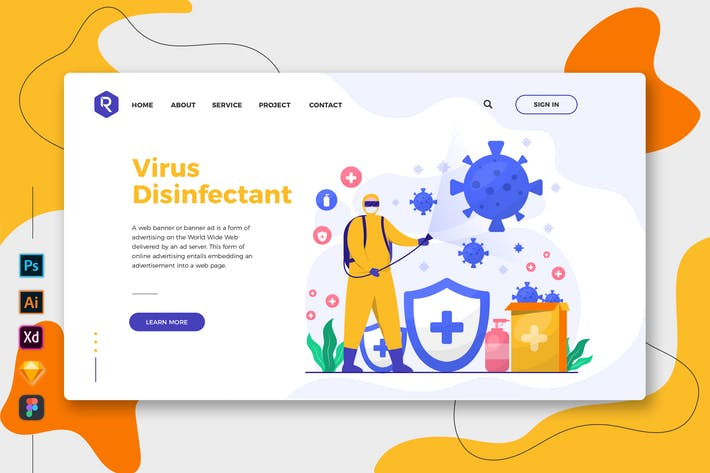 Thumbnail for Virus Disinfectant - Web & Mobile Landing Page
