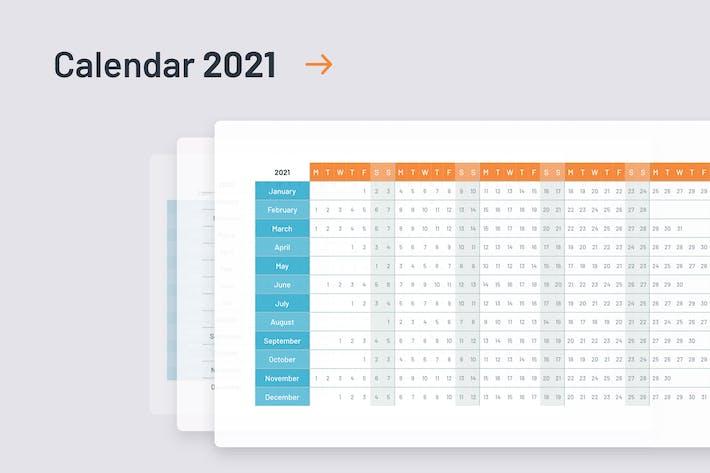 Thumbnail for 2021 Calendar template PowerPoint