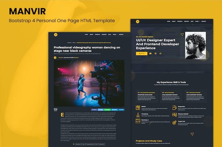 Thumbnail for Manvir - Bootstrap 4 Personal Una Página HTML