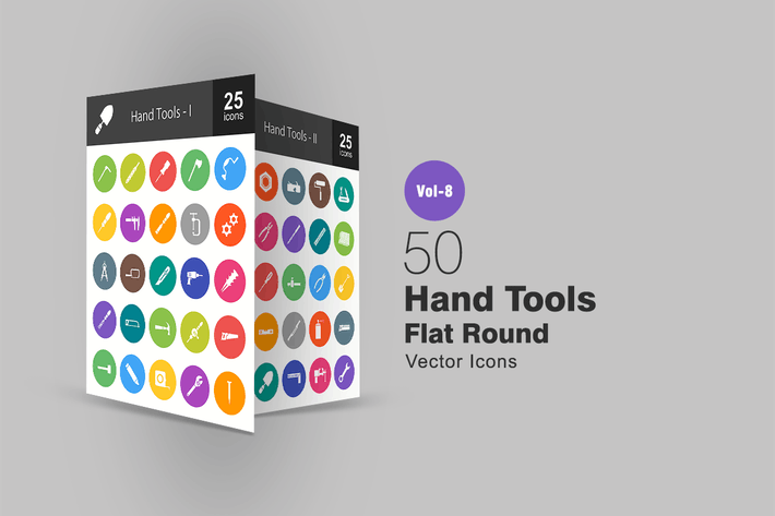 Thumbnail for 50 Hand Tools Flat Round Icons