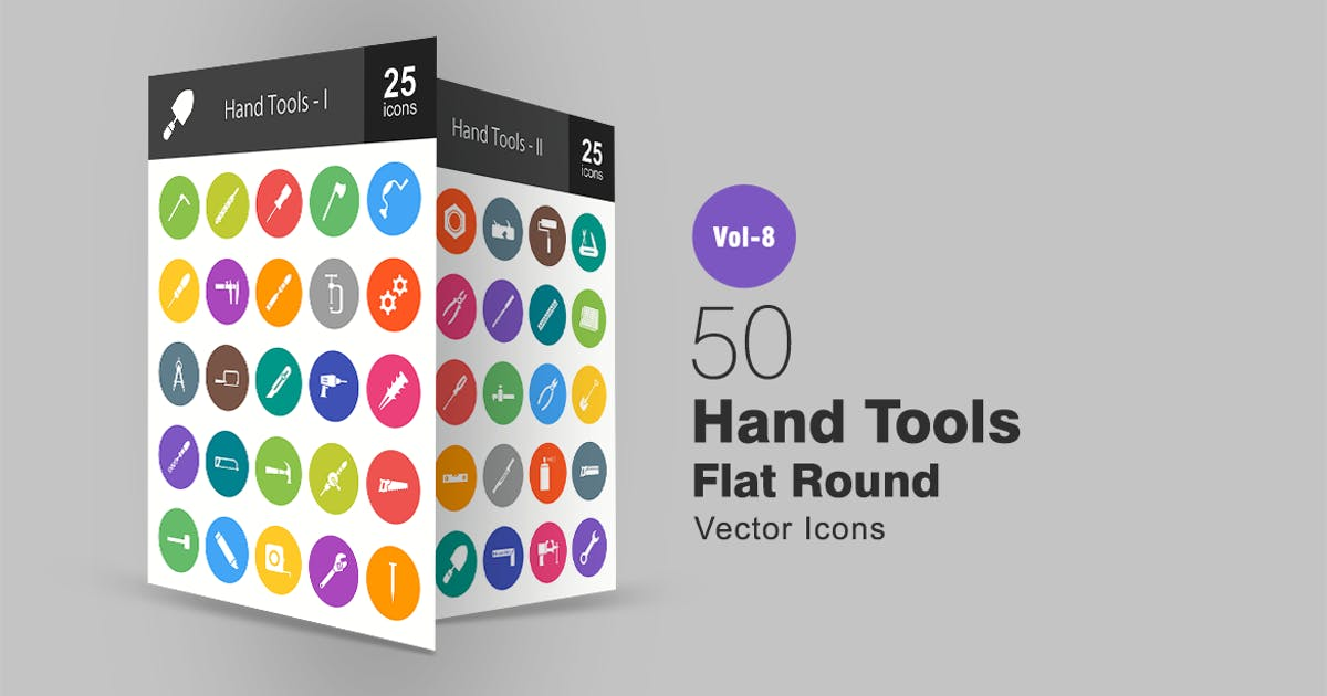 Download 50 Hand Tools Flat Round Icons by IconBunny