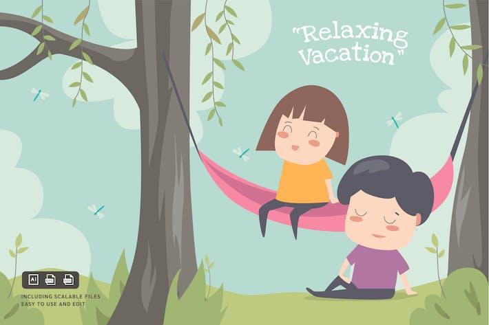 Entspannender Urlaub - Ilustration Vorlage