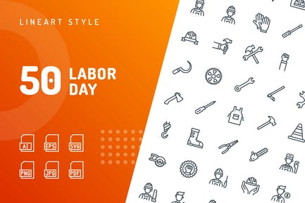 Labor Day Line Icons