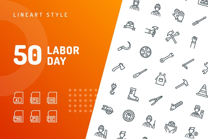 Thumbnail for Labor Day Line Icons