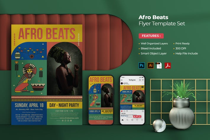 Afro Beat Party Flyer - Instagram Post & Stories
