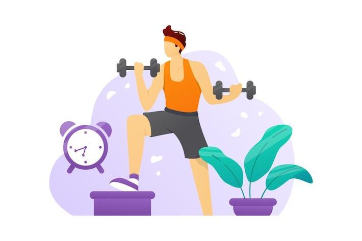 Übung Fitnessstudio Flache Vektor-Illustration