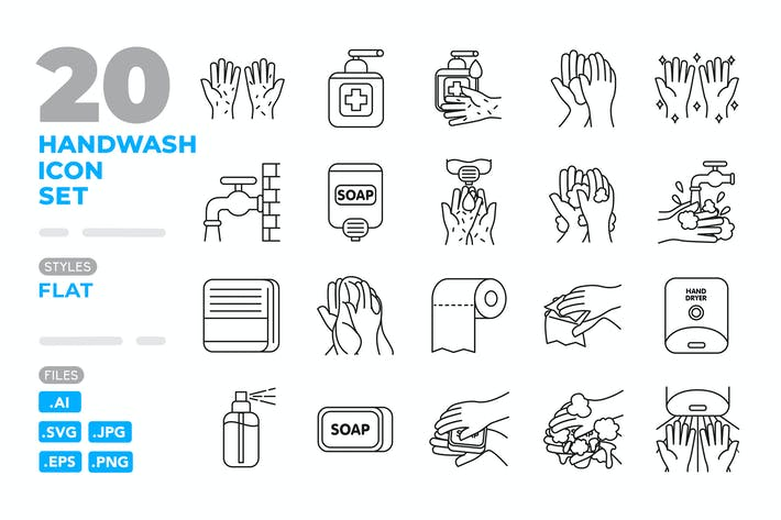 Thumbnail for Handwash Icon Set (Outline)