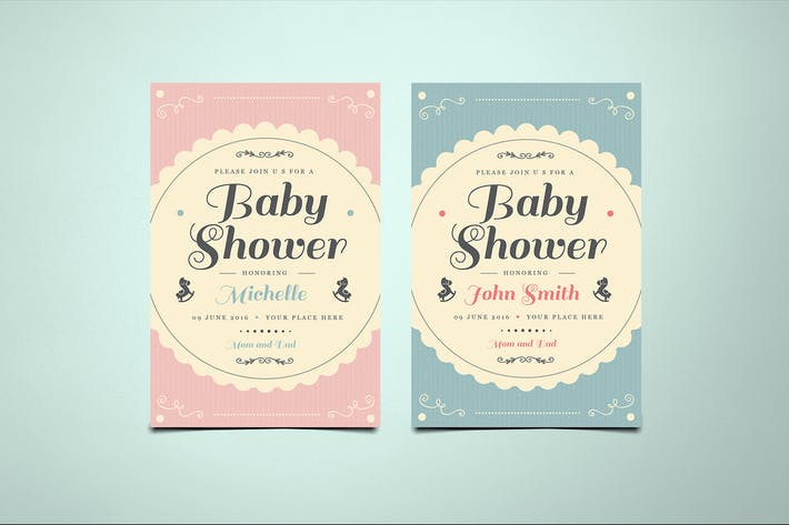 Thumbnail for Vintage Baby Shower Invitation