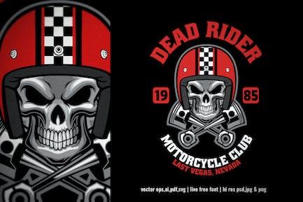 skull rider vintage motorcycle club logo