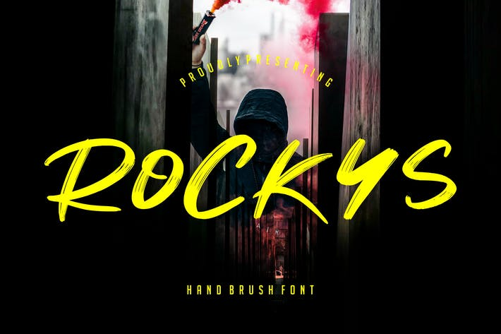 Thumbnail for Rockys Handbrush Font