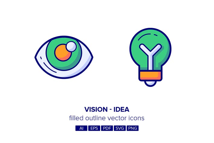 Thumbnail for Vision & Idea Filled Outline Icons
