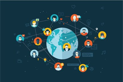 Flat Design Konzept für soziale Netzwerke