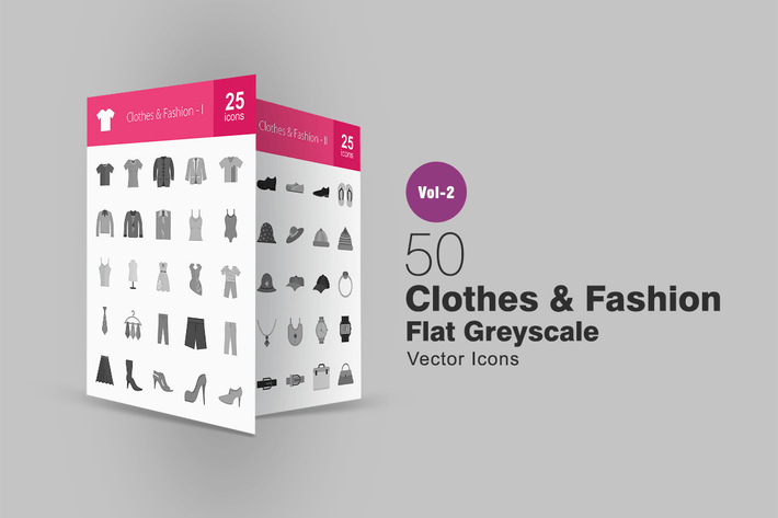 Thumbnail for 50 Clothes & Fashion Greyscale Icons