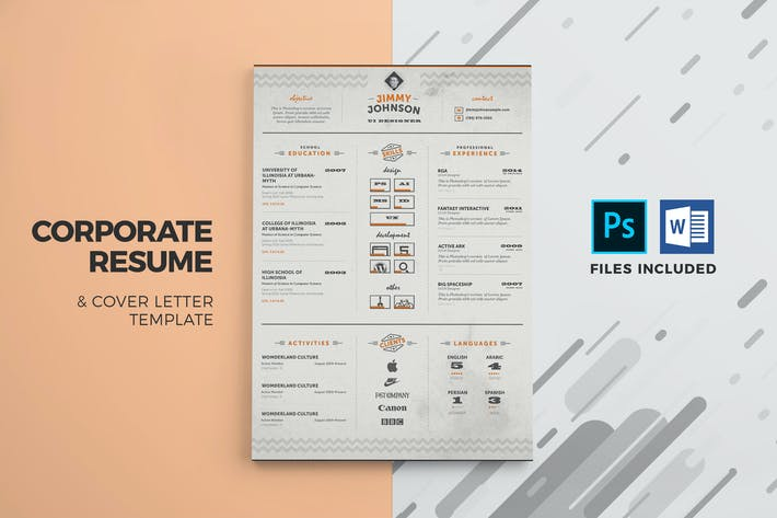 Thumbnail for Corporate Resume & Cover Letter Template