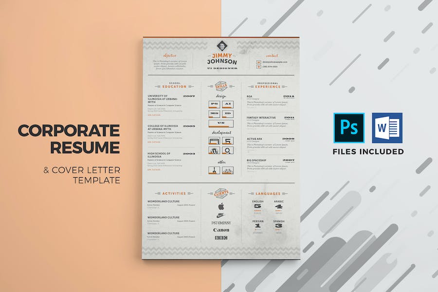 Corporate Resume & Cover Letter Template