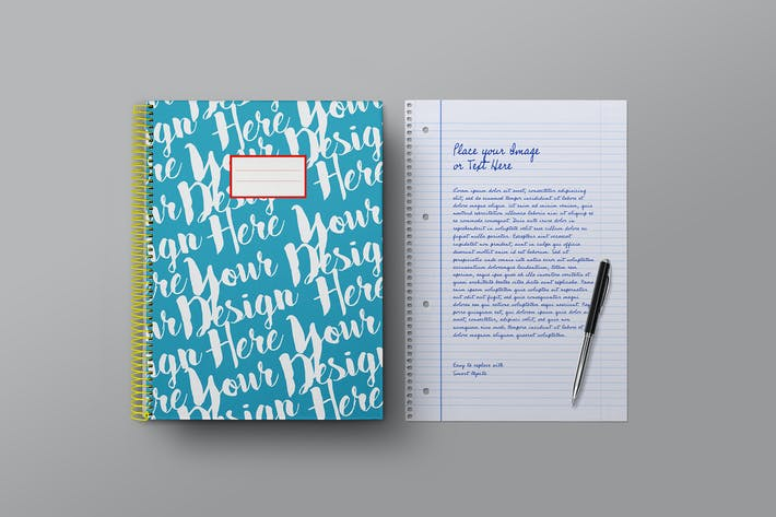Thumbnail for School Notebook & Lined Paper Sheet Mockup