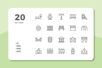 20 City Icons (Line)