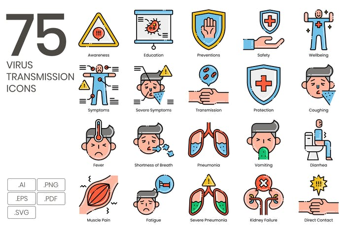 Thumbnail for 75 Virus Transmission Icons - Aesthetics Series