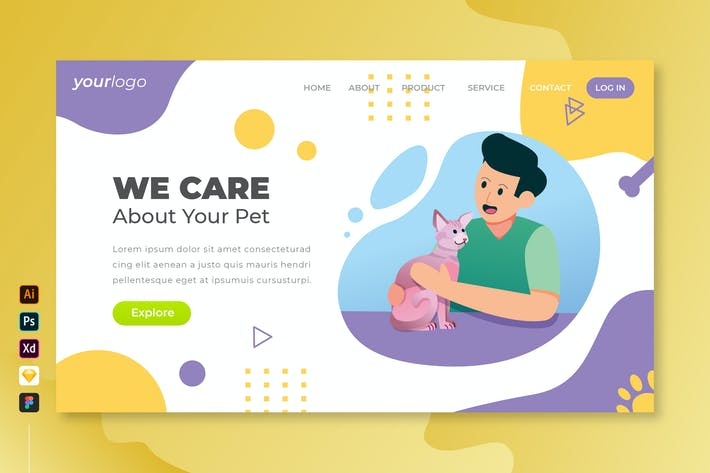 We Care Your Pet - Vector Landing Page Vol.4