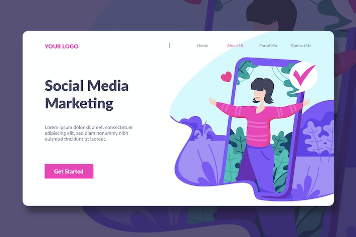 Thumbnail for Mobile Marketing Landing Page Illustration