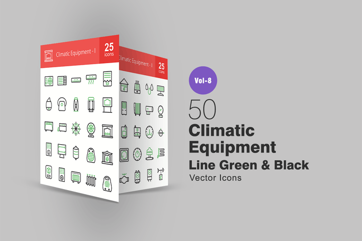 50 Climatic Equipment Green & Black Line Icons