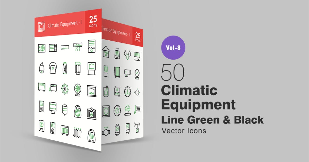 Download 50 Climatic Equipment Green & Black Line Icons by IconBunny