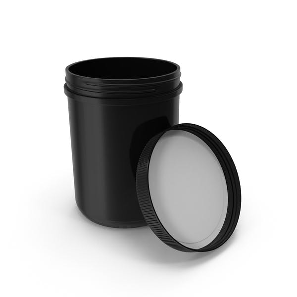 Plastic Jar Wide Mouth Straight Sided 60oz Open Black