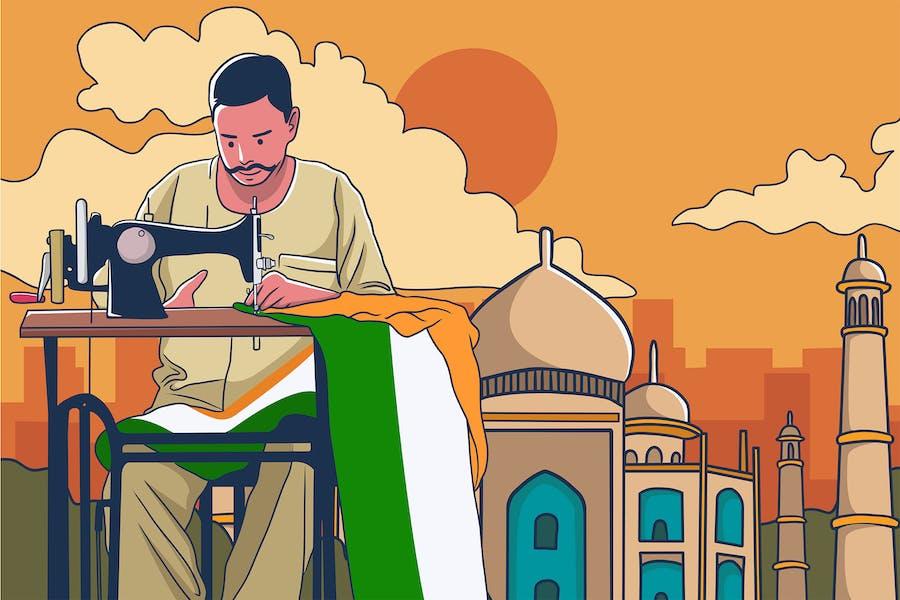 Man sewing indian flag - Illustration
