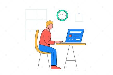 Boy Working Online - Ilustración plana