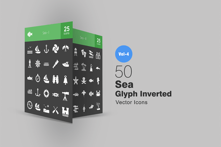 50 Sea Glyph Inverted Icons