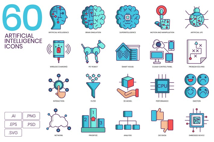 Thumbnail for 60 Artificial Intelligence Icons - Turquoise Serie