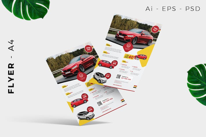 Thumbnail for Car rental flyer template