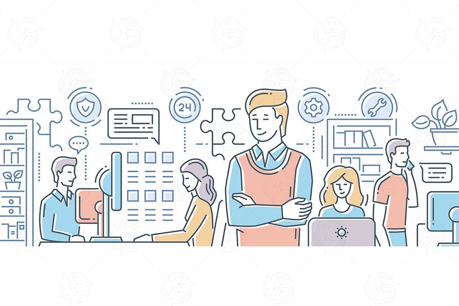 Download Business team - line flat design banner by BoykoPictures