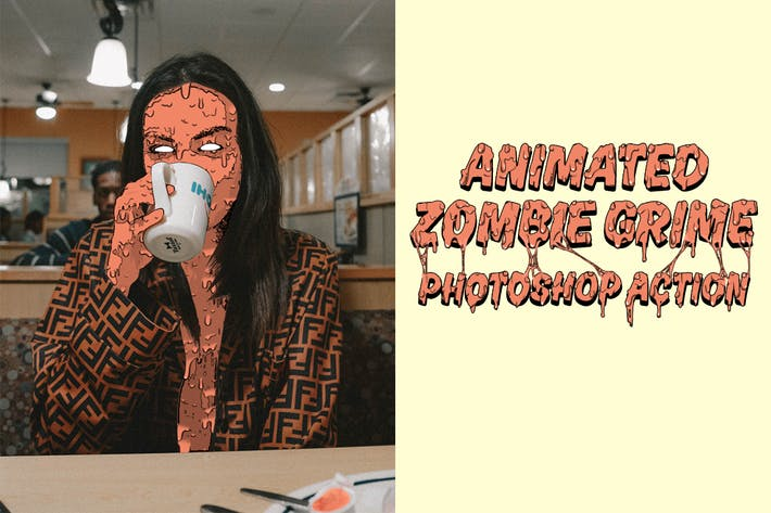 Thumbnail for Animated Zombie Grime Art Photoshop Action