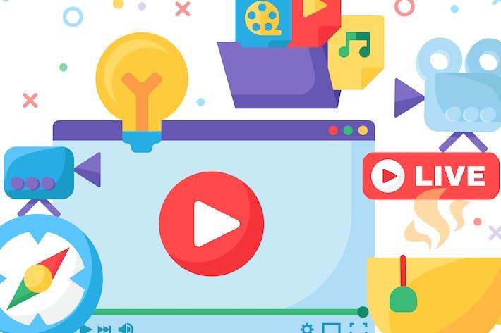 Web Live Stream Producing Illustration