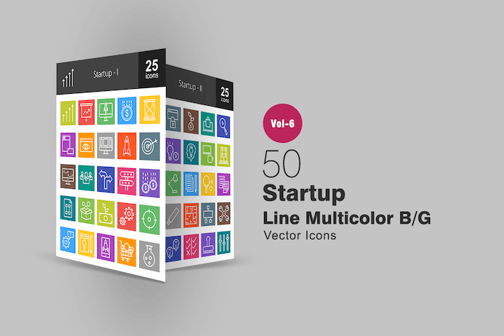 Thumbnail for 50 Startup Line Multicolor B/G Icons
