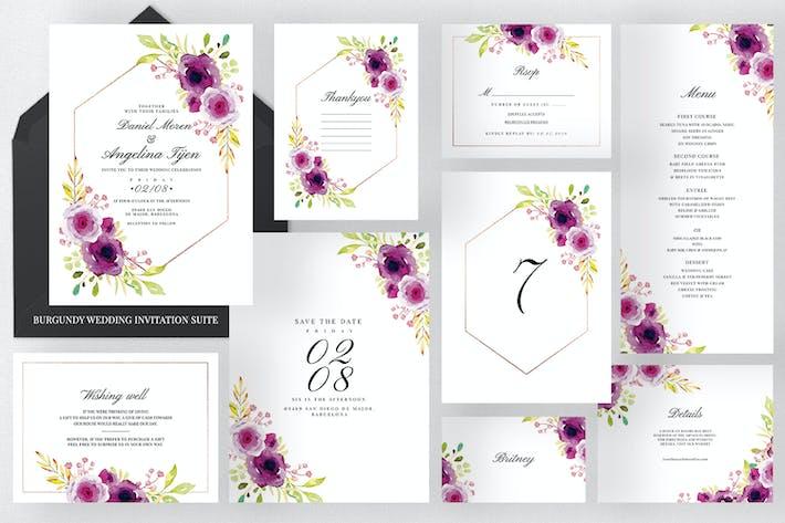 Thumbnail for Burgundy Wedding Invitation Suite