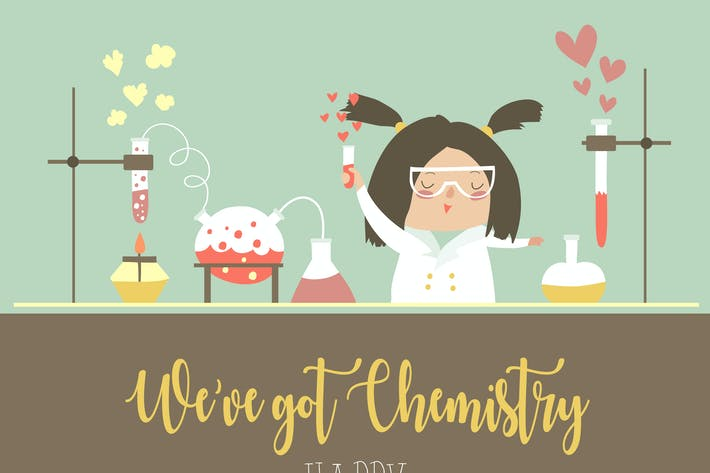 Cover Image For Cute female scientist works on Valentines day