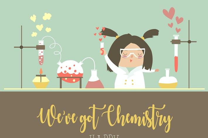 Thumbnail for Niedliche weibliche Wissenschaftlerin arbeitet am Valentinstag