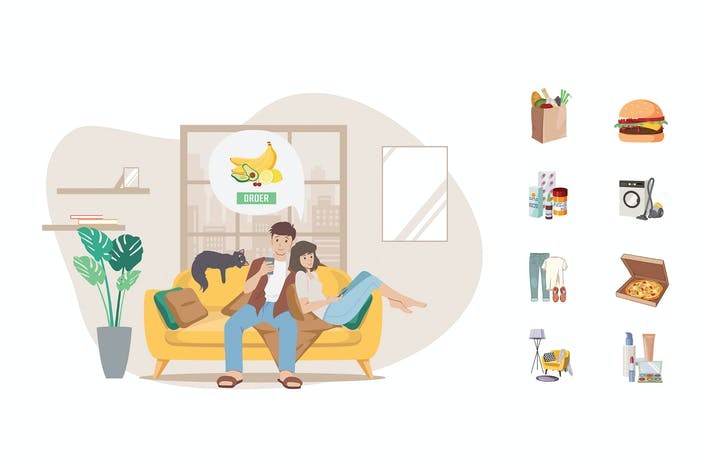 Thumbnail for Online shopping couple on sofa