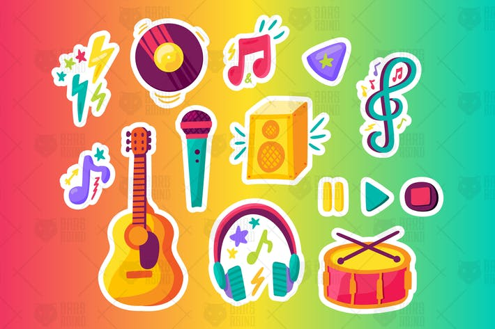 Thumbnail for Musical Party Stickers Set