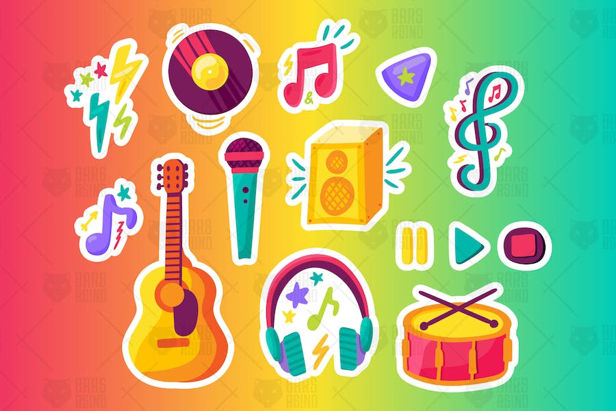 Musical Party Stickers Set
