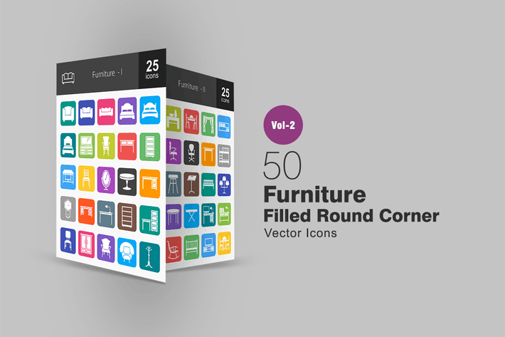 Cover Image For 50 Furniture Filled Round Corner Icons